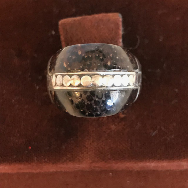 JOHN HARDY palm wood and sterling ring marked with his logo