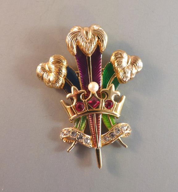 SWAROVSKI enameled fleur-de-lis brooch and crown with blue, purple and green enameling