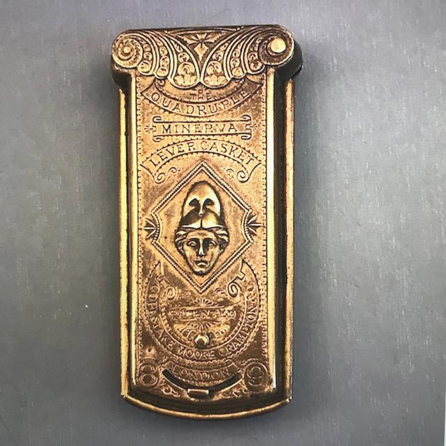 MINERVA LEVER quadruple pop-up NEEDLE CASE,  1869
