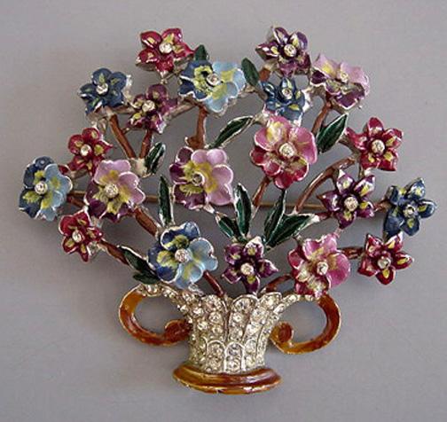 CORO enameled and rhinestones on rhodium flower basket brooch