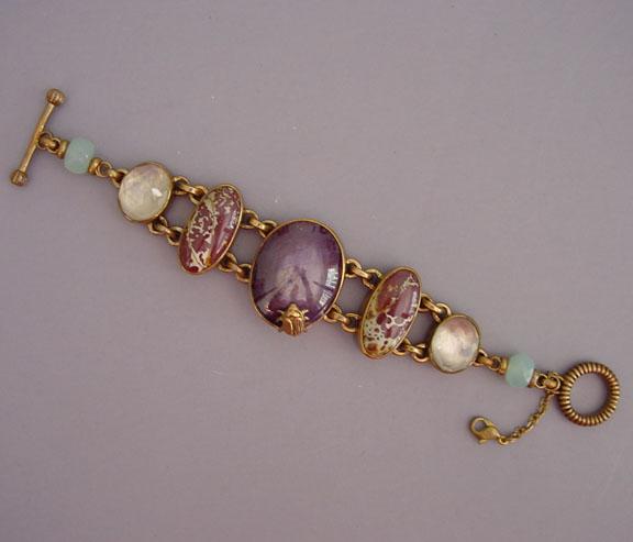 STEPHEN DWECK OOAK bronze bracelet, Indian star ruby cabochon center, jasper, faceted rock crystal