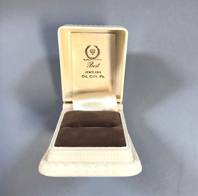 VINTAGE Deco style pale cream colored ring box with a lovely soft brown velvet liner