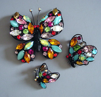 REGENCY multi-colored rhinestone butterfly pins, a wonderful set of three