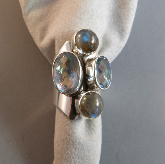 LILY BARRACK ring of Mystic fire topaz and Labradorite set in sterling, made in 2014