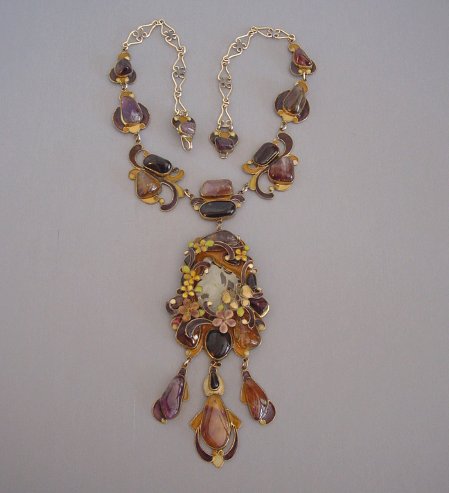 VEGA MADDUX necklace with purple and deep honey colored stones, lovely enameling