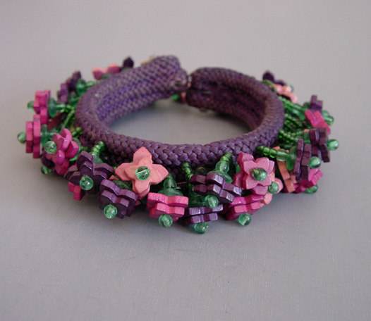 HASKELL early Hess wooden beads and glass seed beads coil bracelet