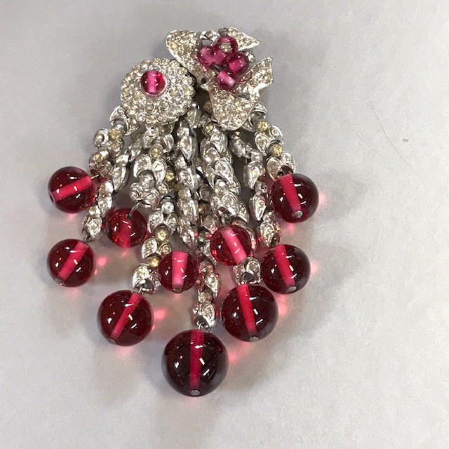 MIRIAM HASKELL by Frank Hess cranberry colored glass beads dress clip
