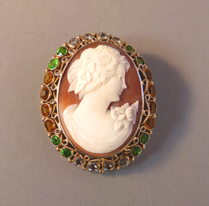 HOBE sea shell cameo brooch, frame of unfoiled green, clear and topaz