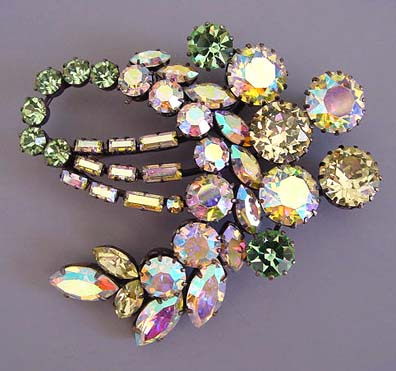 CELERY green colored rhinestones brooch with pale yellow and aurora borealis rhinestone accents