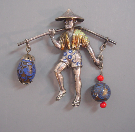 LC Mark ASIAN water man brooch carrying water containers across his shoulders