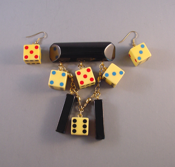 SHULTZ bakelite colorful dice and black rods brooch and earrings set