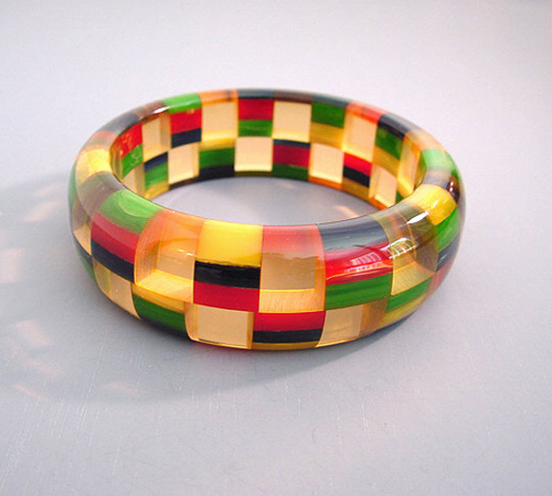 SHULTZ bakelite two-row check bangle multi-colored checks