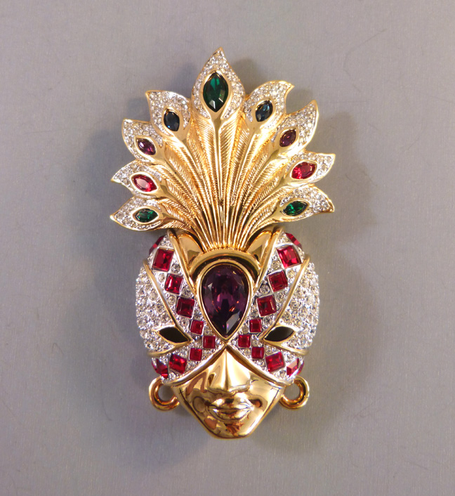 SWAROVSKI headdress and face figural brooch with a rainbow of gem tone crystals, 1990s