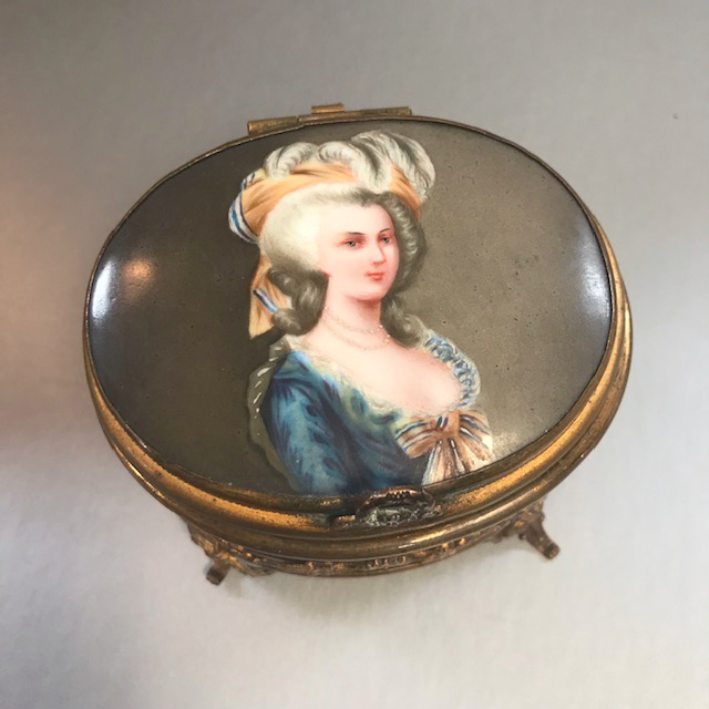 JEWELRY BOX with a hand painted portrait top, Marie Antioinette