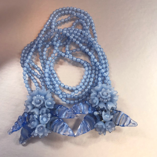 MIRIAM HASKELL by Frank Hess blue glass leaves and beads lariat necklace
