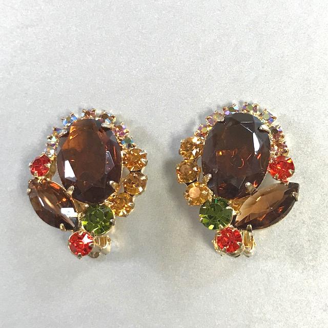 JULIANA Delizza & Elster (D&E) earrings in Autumn tones of caramel, green, orange