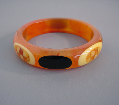 SHULTZ bakelite caramel and cloud marbled bangle with cream checks dots
