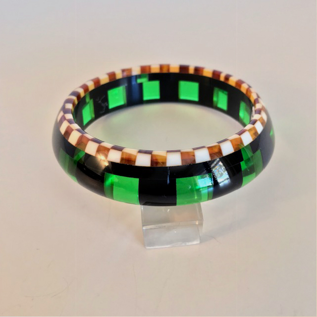 SHULTZ bakelite black and green transparent checked bangle with caramel and cream