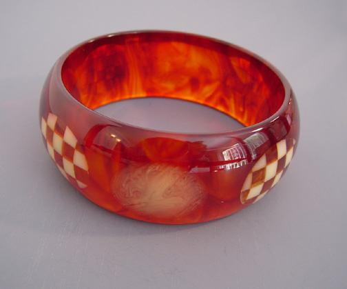 SHULTZ bakelite iced tea marbled bangle with cream and tortoise checked dots