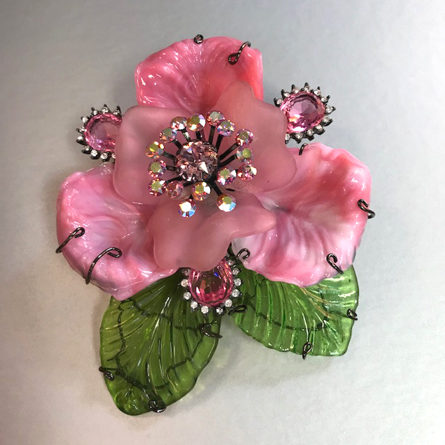 LARRY VRBA pink and green glass petals and leaves flower brooch with pink rhinestones