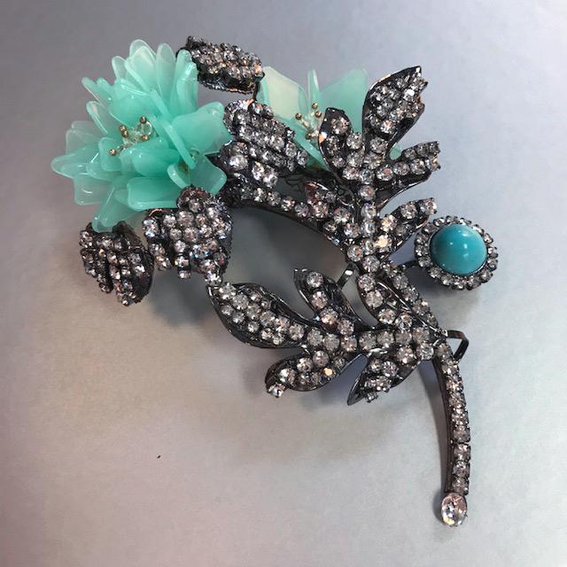LARRY VRBA flower brooch with an aqua flower, aqua glass cabochon bud