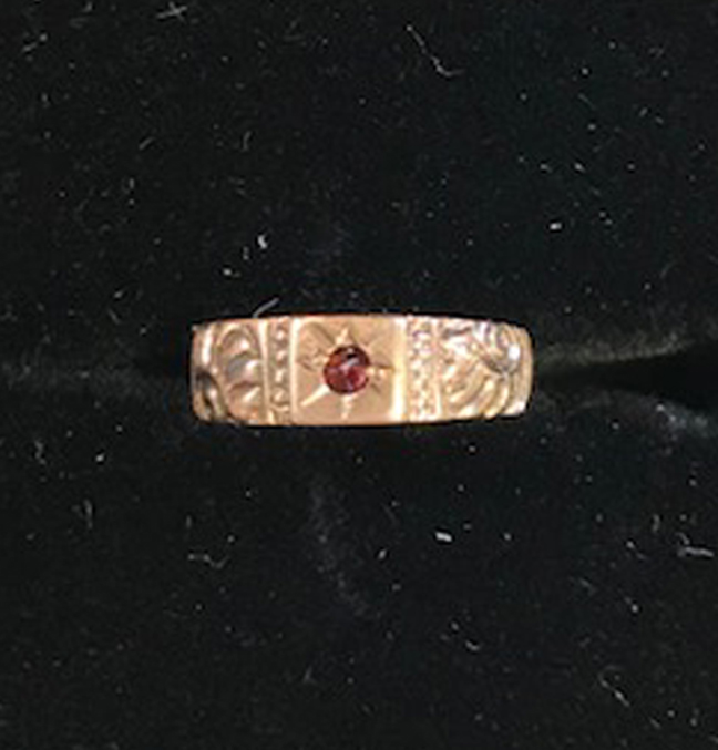 VICTORIAN baby ring charm, 10k and garnet cabochon ring charm with scrolling shell shapes