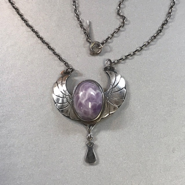 STERLING silver necklace with Egyptian flair, a wings and a marbled purple cabochon center