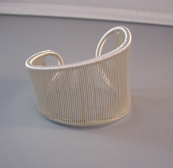 TANA ACTON sterling wire wrapped asymmetrical cuff bracelet
