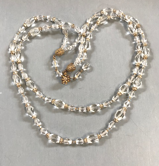 MIRIAM HASKELL sparkling clear faceted glass beads two-strand necklace