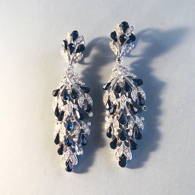 TRIFARI blue and clear rhinestone jointed dangling earrings set in silver plate metal