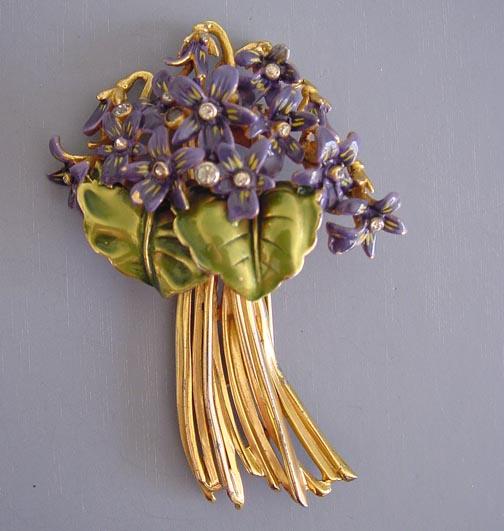 DEROSA fabulous enameled violets and leaves bouquet fur clip