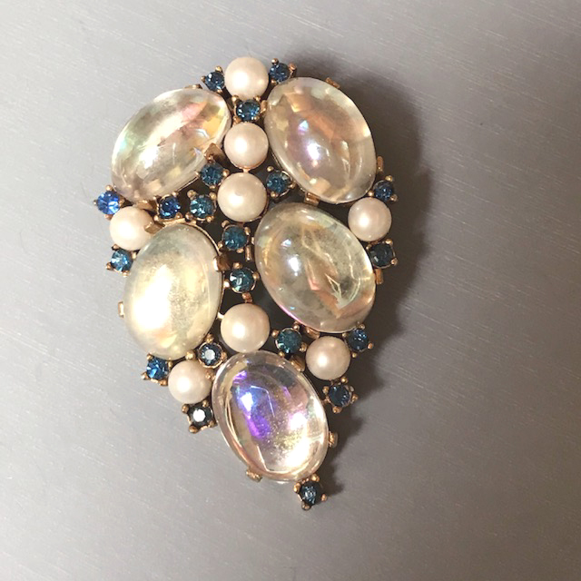 TRIFARIbrooch with iridescent moonstone-looking glass cabochons, glass pearls, blue rhinestones