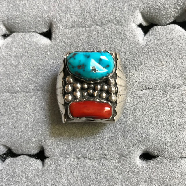 NATIVE American Navajo sterling silver, coral and turquoise ring