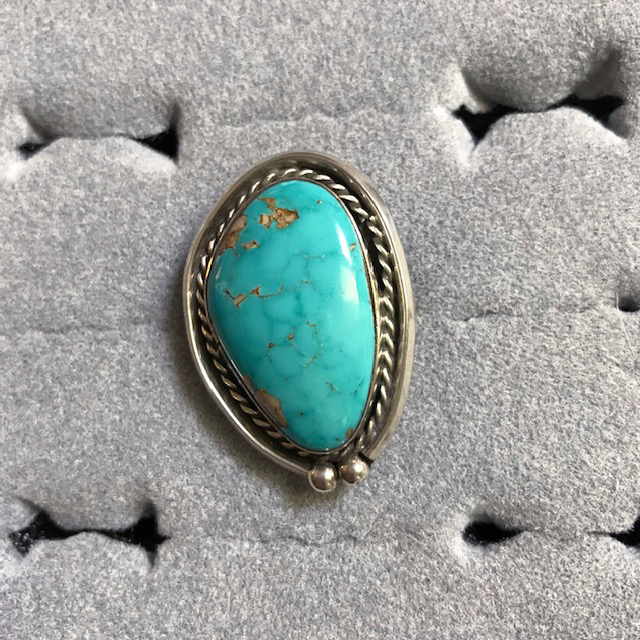 NATIVE American Navajo sterling silver and turquoise ring