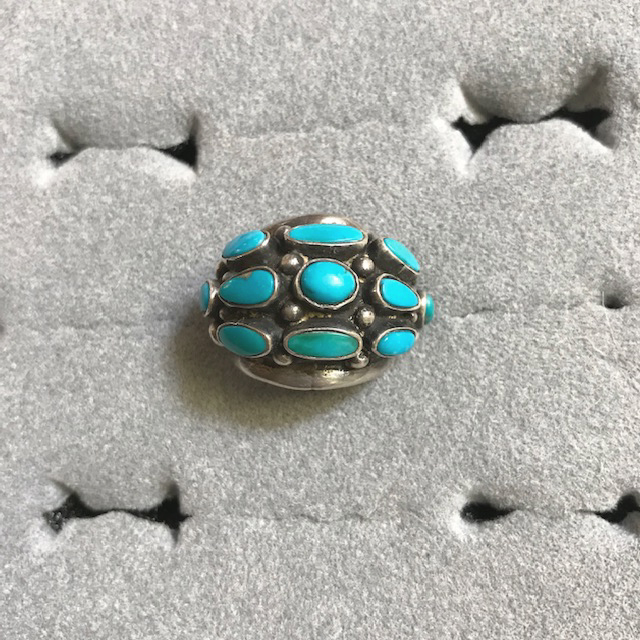 STERLING silver and turquoise domed ring with little silver ball accents