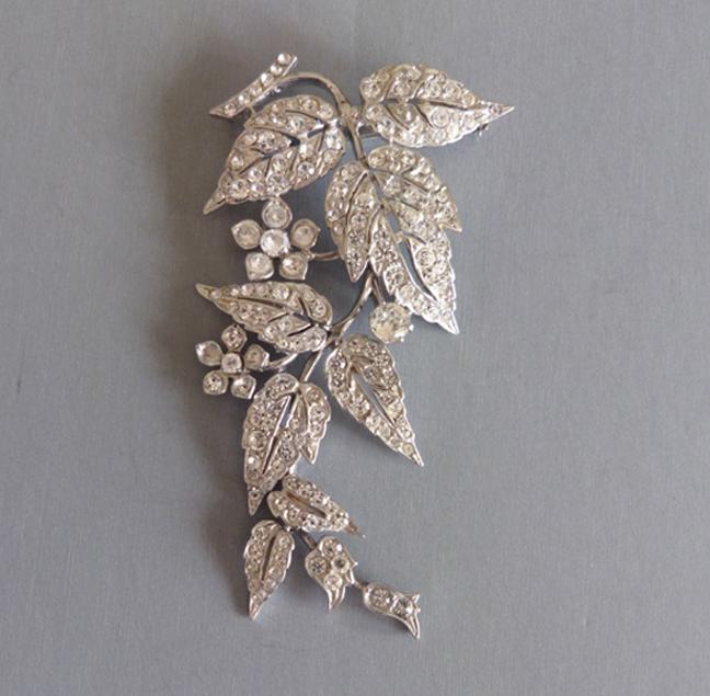 ENGLISH sterling & paste dangling leaves flowers brooch