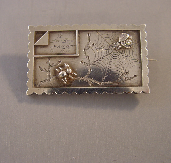 VICTORIAN sterling silver brooch with the saying Ye Spider and Ye Flie (fly) with raised insects