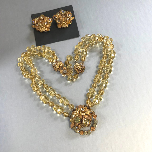 DEMARIO brilliant yellow faceted glass beads two-strand necklace and earrings