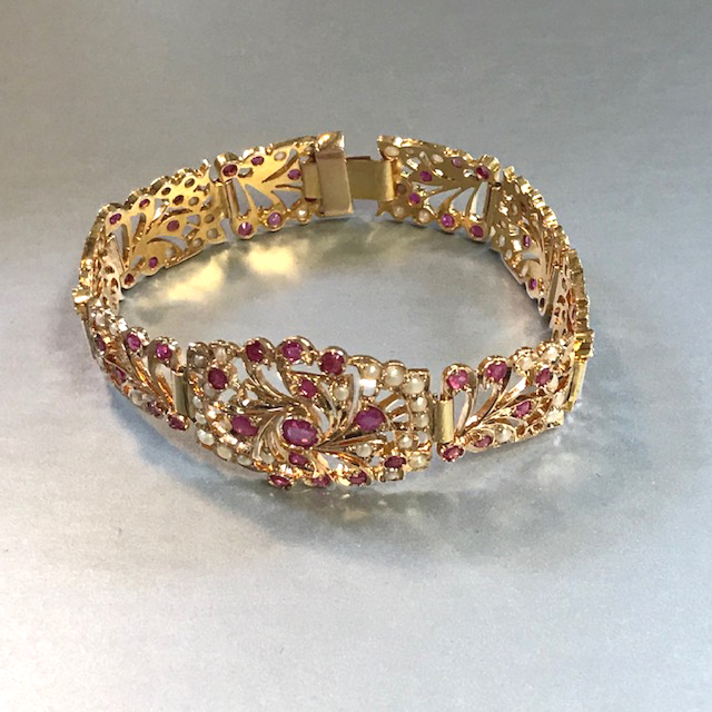 BRACELET 10k yellow gold lacy filigree bracelet set with synthetic pink sapphires and seed pearls