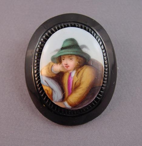 VICTORIAN Whitby jet Tyrolean boy brooch circa 1860