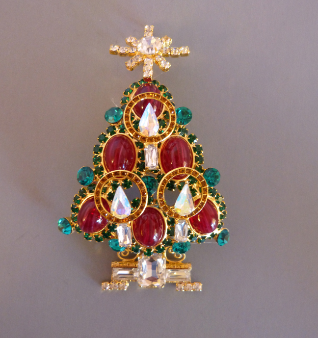 VRBA Christmas tree brooch with high dome ruby colored cabochon ornaments, green rhinestone tree