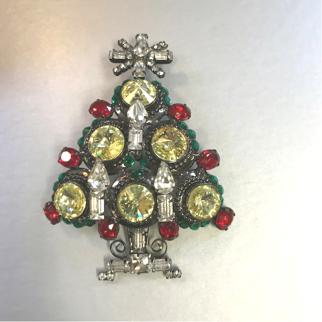 VRBA holiday Christmas tree brooch with green, red, yellow and clear rhinestones