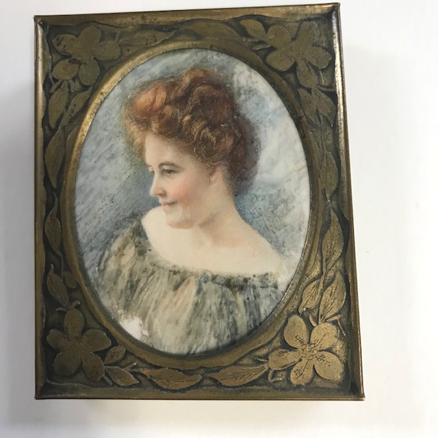 PORTRAIT hand painted portrait of a beautiful auburn-haired lady, masterfully done and framed
