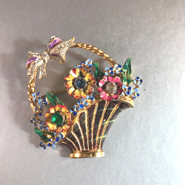 CORO CRAFT gold washed sterling enameled basket of flowers brooch