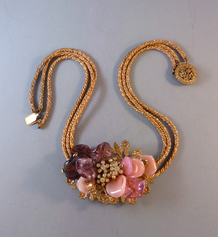 MIRIAM HASKELL Hess necklace with poured glass pink, lavender petals accented with clear rhinestones