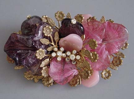 MIRIAM HASKELL Frank Hess designed brooch with the lovely purple and pink glass leaves and clear rhinestone