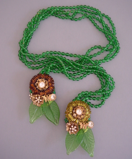 MIRIAM HASKELL by Frank Hess rare lariat necklace of green glass leaves, brown and yellow bugle beads