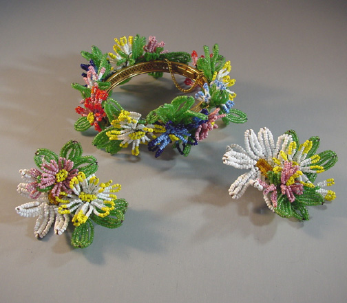 MIRIAM HASKELL very rare glass beaded flowers bracelet and earrings with colorful beaded flowers and leaves