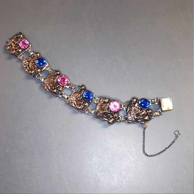 HOBE sterling and 14k yellow gold bracelet with brilliant pink and blue rhinestones