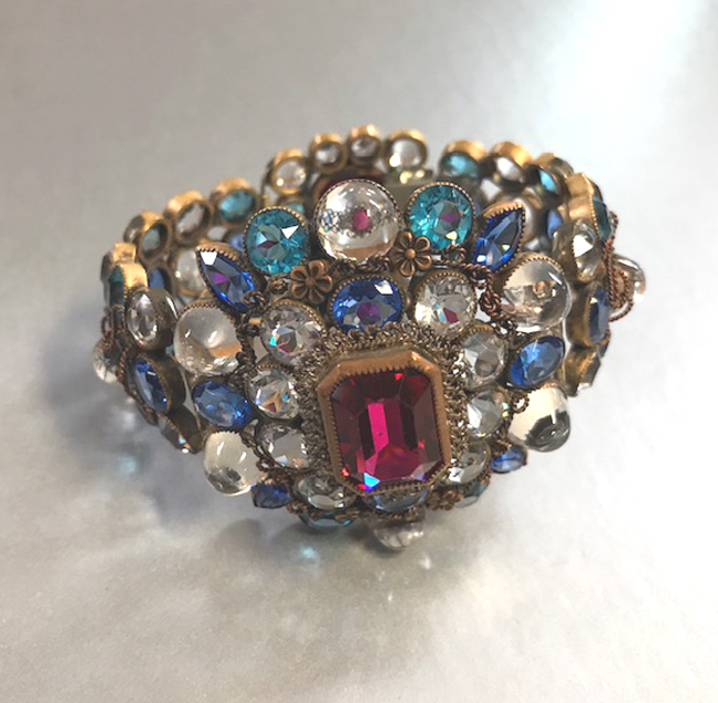 HOBE rare bracelet with brilliant clear half-domed glass and colorful rhinestones